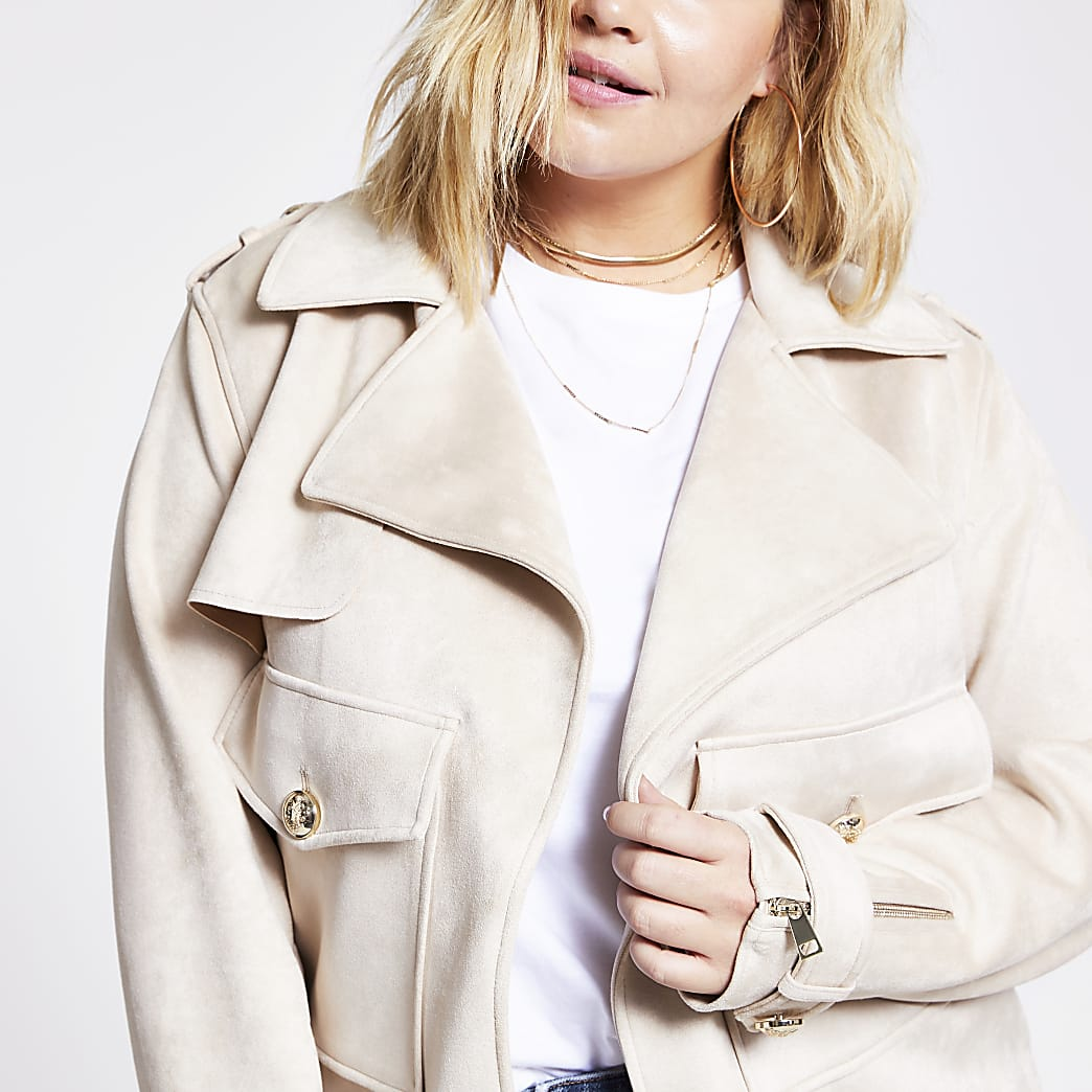 Plus beige suedette cropped jacket