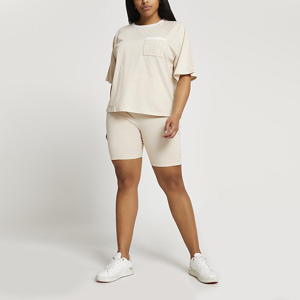 Plus beige tennis pique cycling shorts