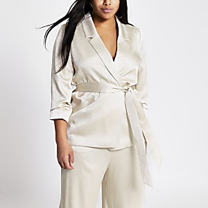 Plus beige tie belted satin blazer