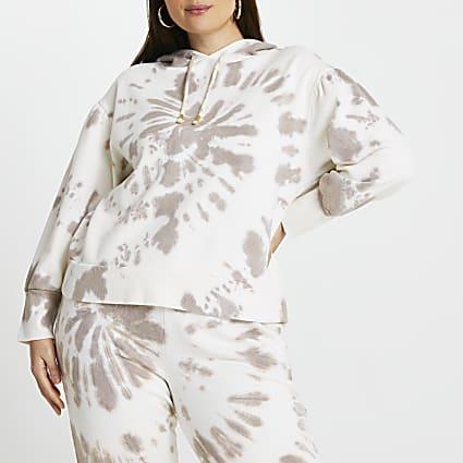 Plus beige tie dye long sleeve hoodie