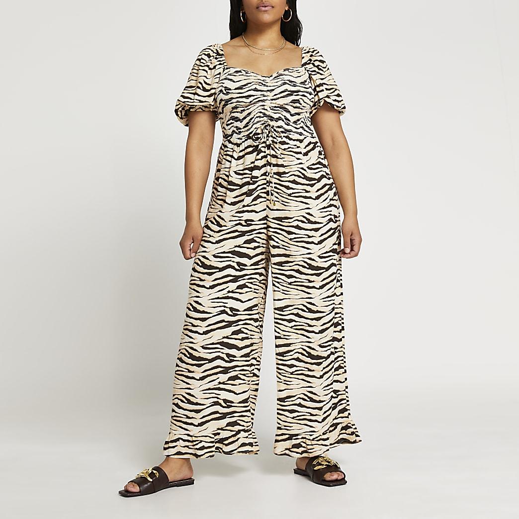 Plus beige zebra print jumpsuit
