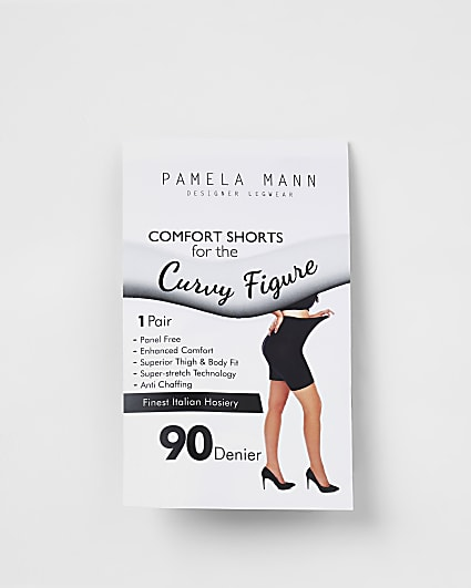 Plus black 90 denier anti-chafing shorts