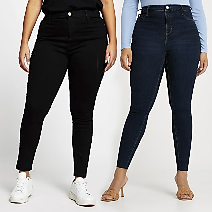 Plus Black and Blue Molly jeans multipack
