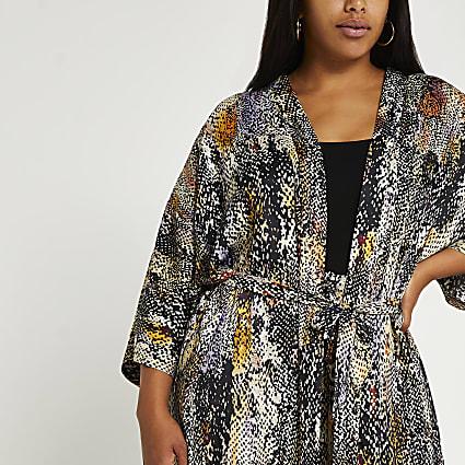 Plus black animal print kimono