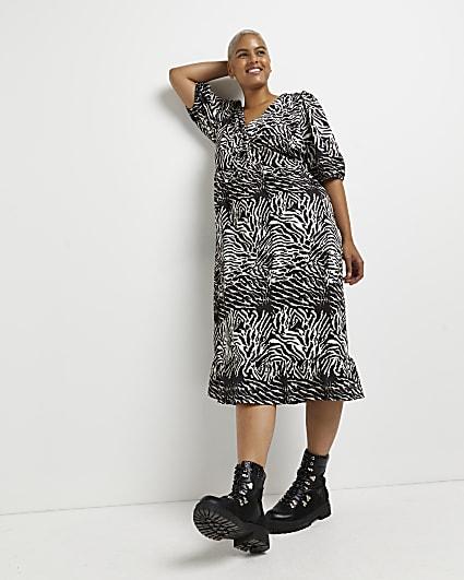 Plus black animal print tie front midi dress
