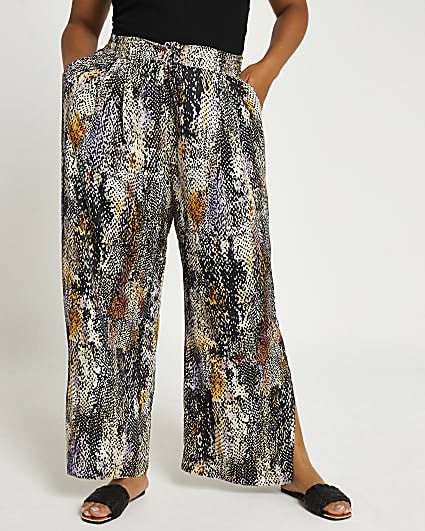Plus black animal print wide leg trousers