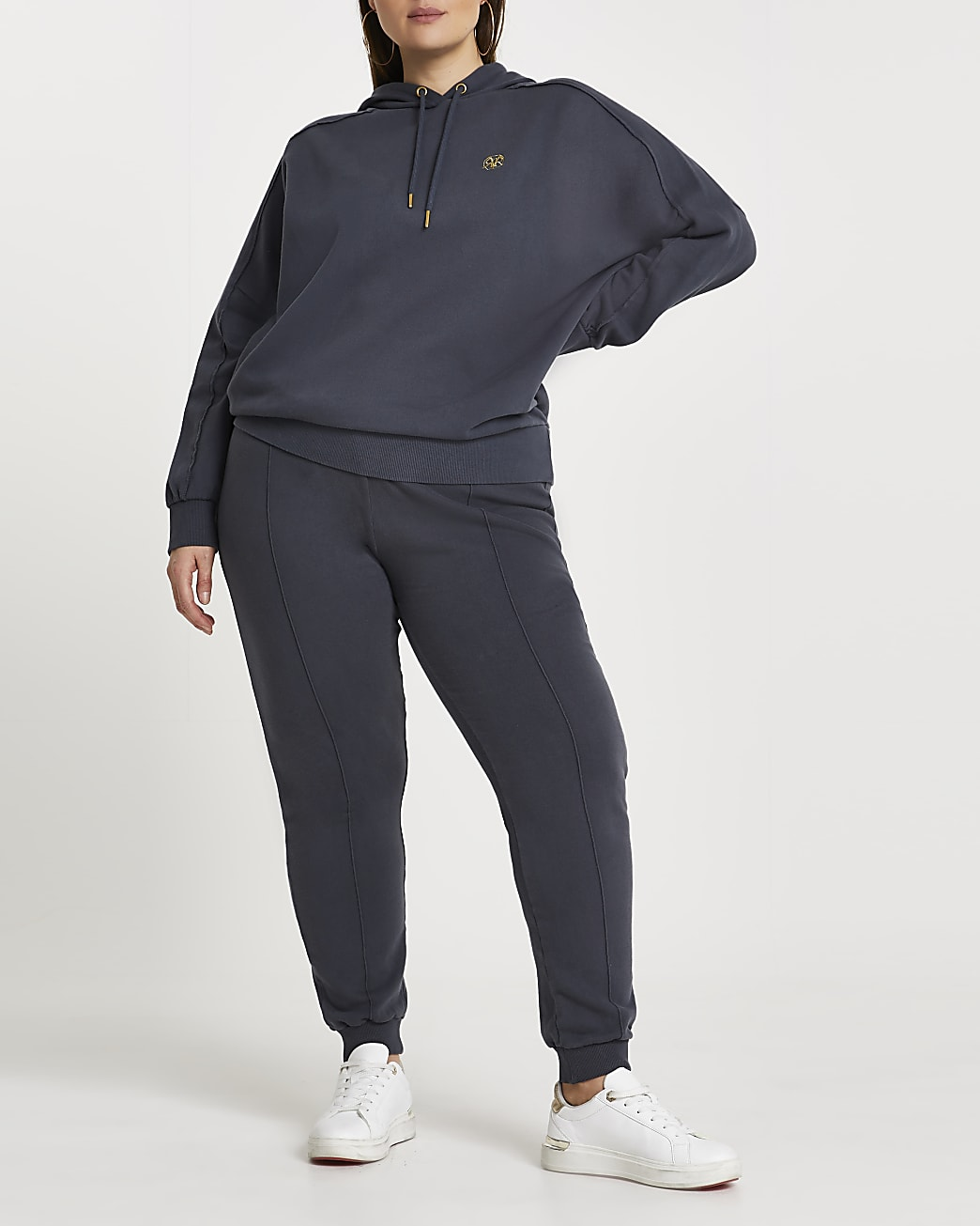 Plus black ankle cuffed joggers