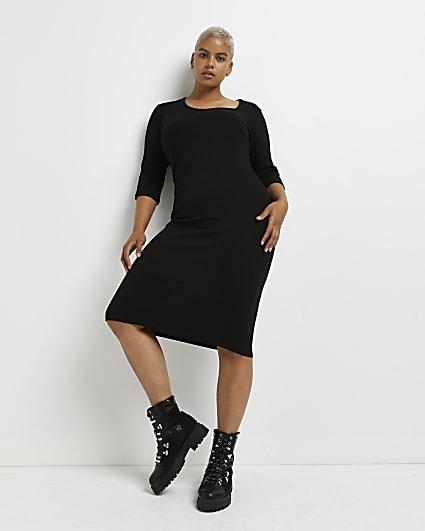 Plus black asymmetric bodycon midi dress