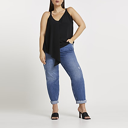 Plus black asymmetric cami top
