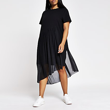 Plus black asymmetric mesh tea dress