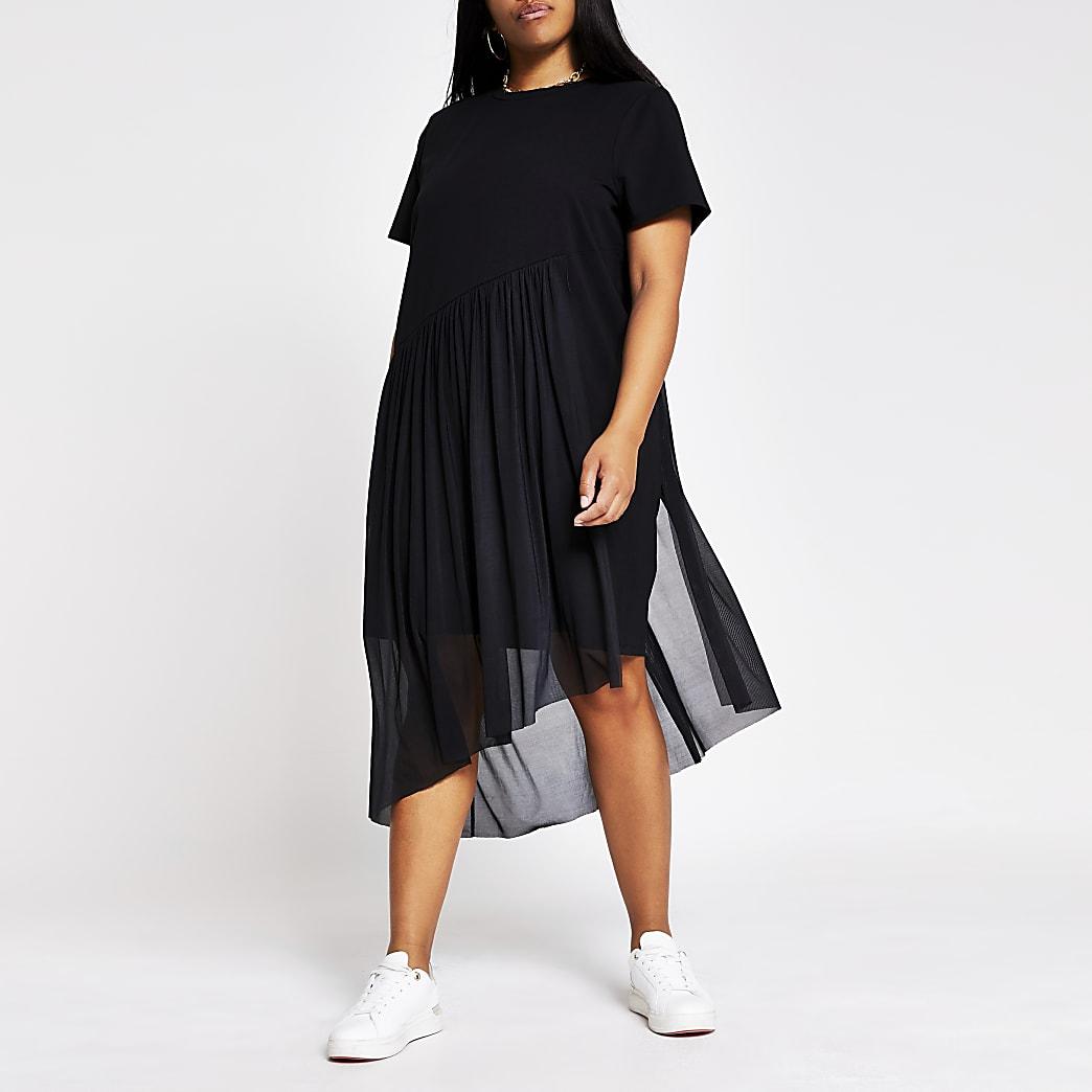 Plus black asymmetric mesh tea dress