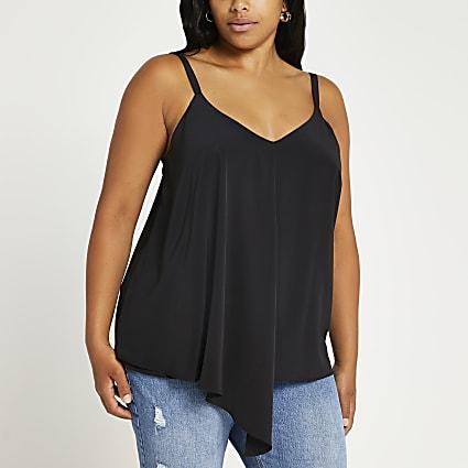 Plus black asymmetrical cami top