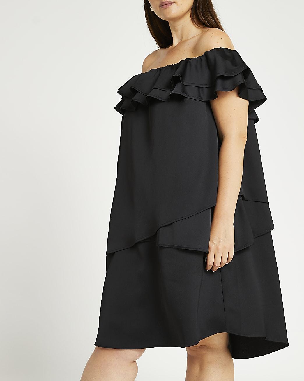 Plus black bardot frill mini dress