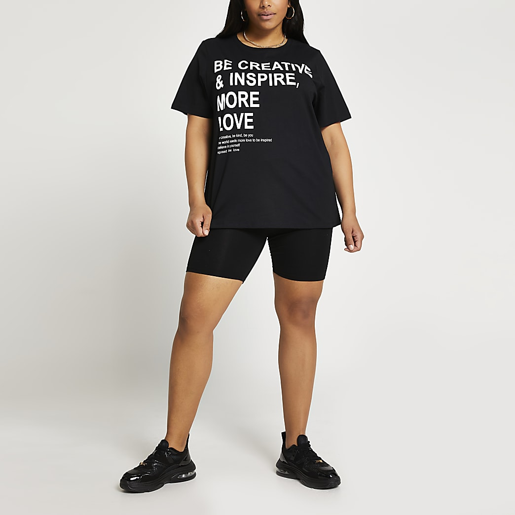 Plus black 'Be Creative & Inspire' t-shirt