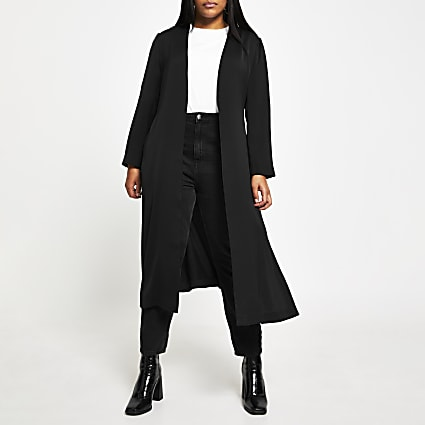 Plus black belted duster jacket