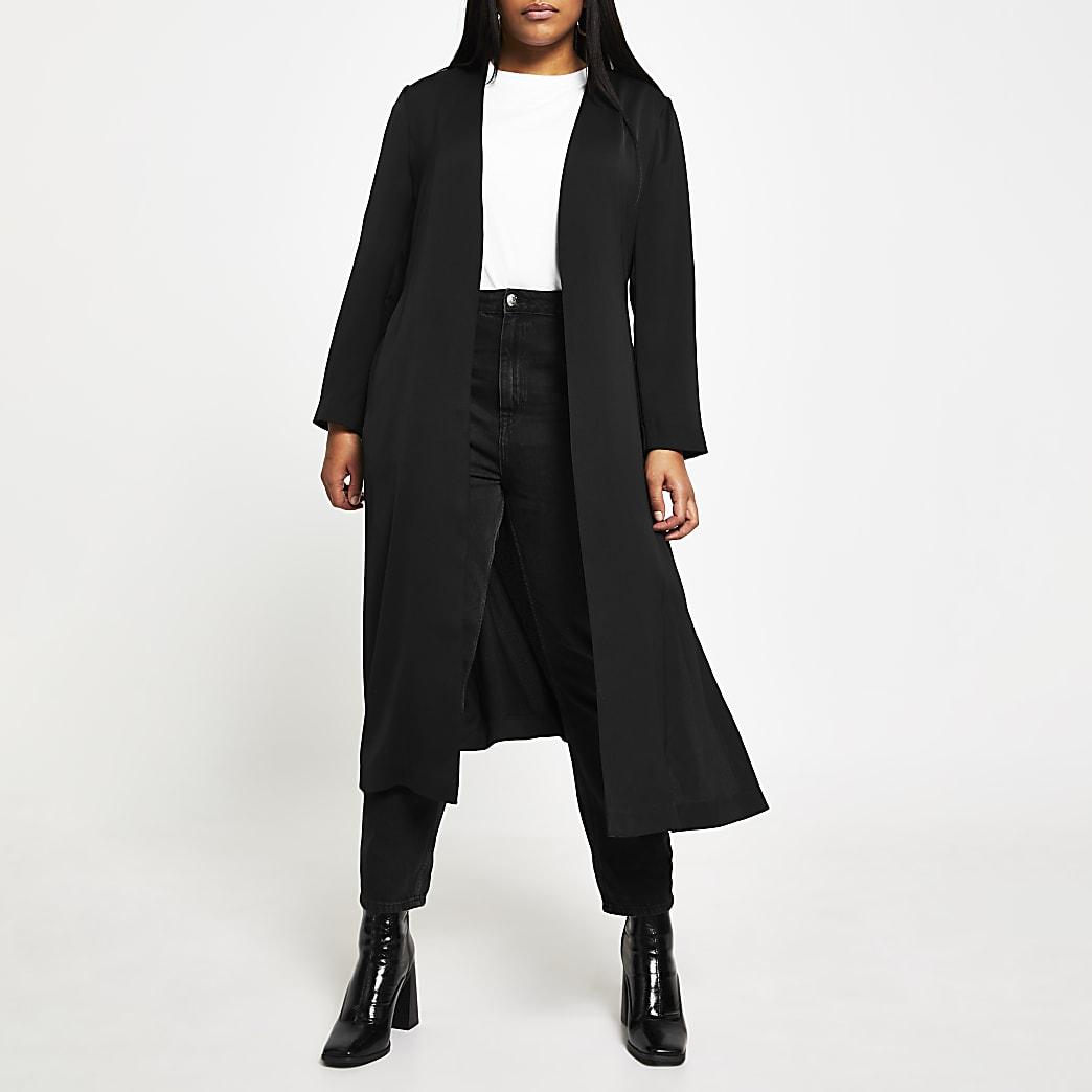 Plus black belted duster jacket