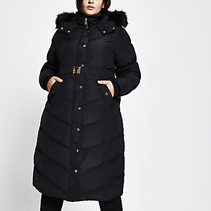Plus black belted faux fur puffer coat