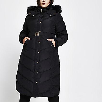 Plus black belted faux fur puffer coat