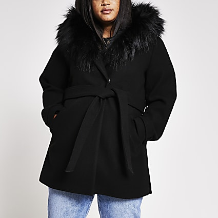 Plus Black Belted Fur Hood Robe Coat