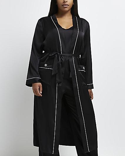 Plus black belted kimono