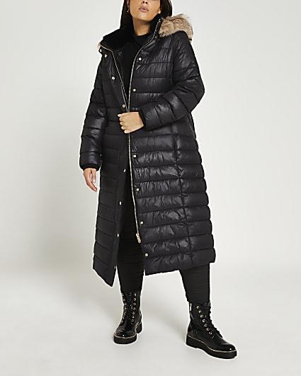 Plus black belted longline puffer coat