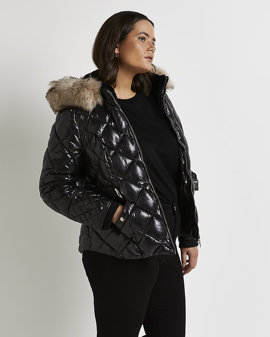 Plus black belted quilted coat