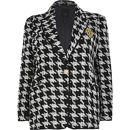 Plus black boucle dogtooth badged blazer