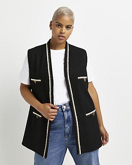 Plus black boucle sleeveless cardigan