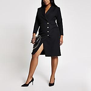 Plus – Robe blazer mi-longue noire boutonnée