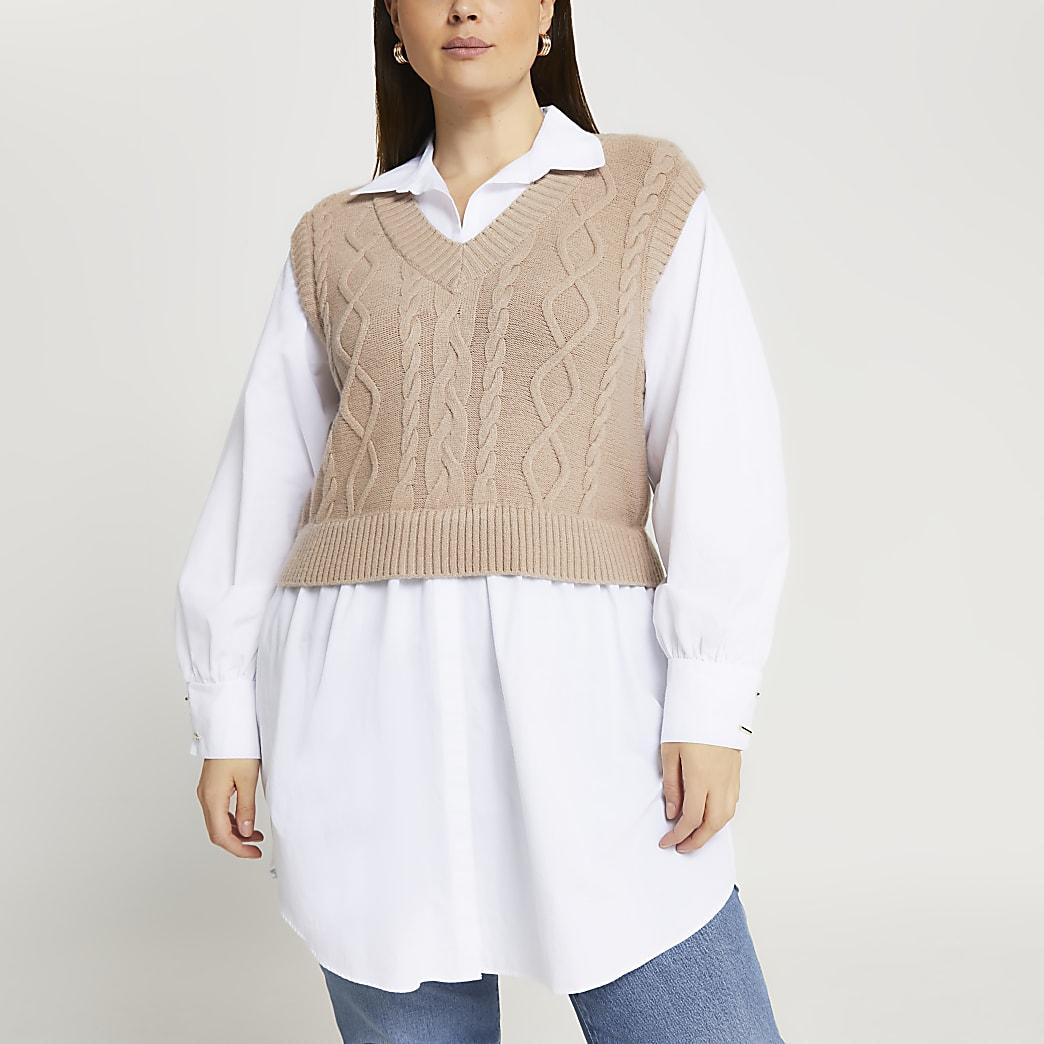 Plus black cable knit tank dress