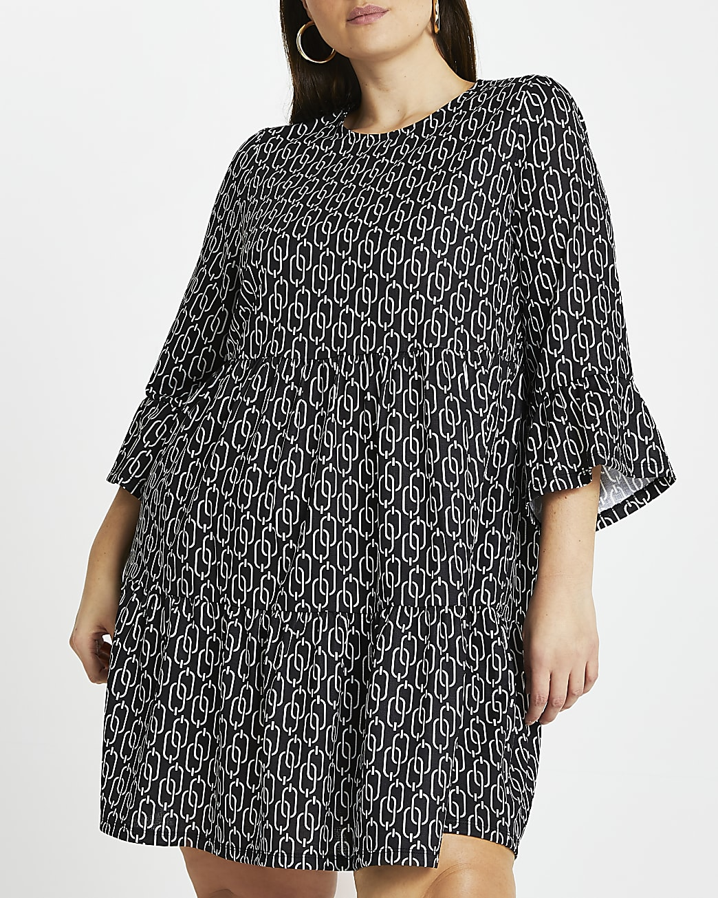 Plus black chain print smock dress