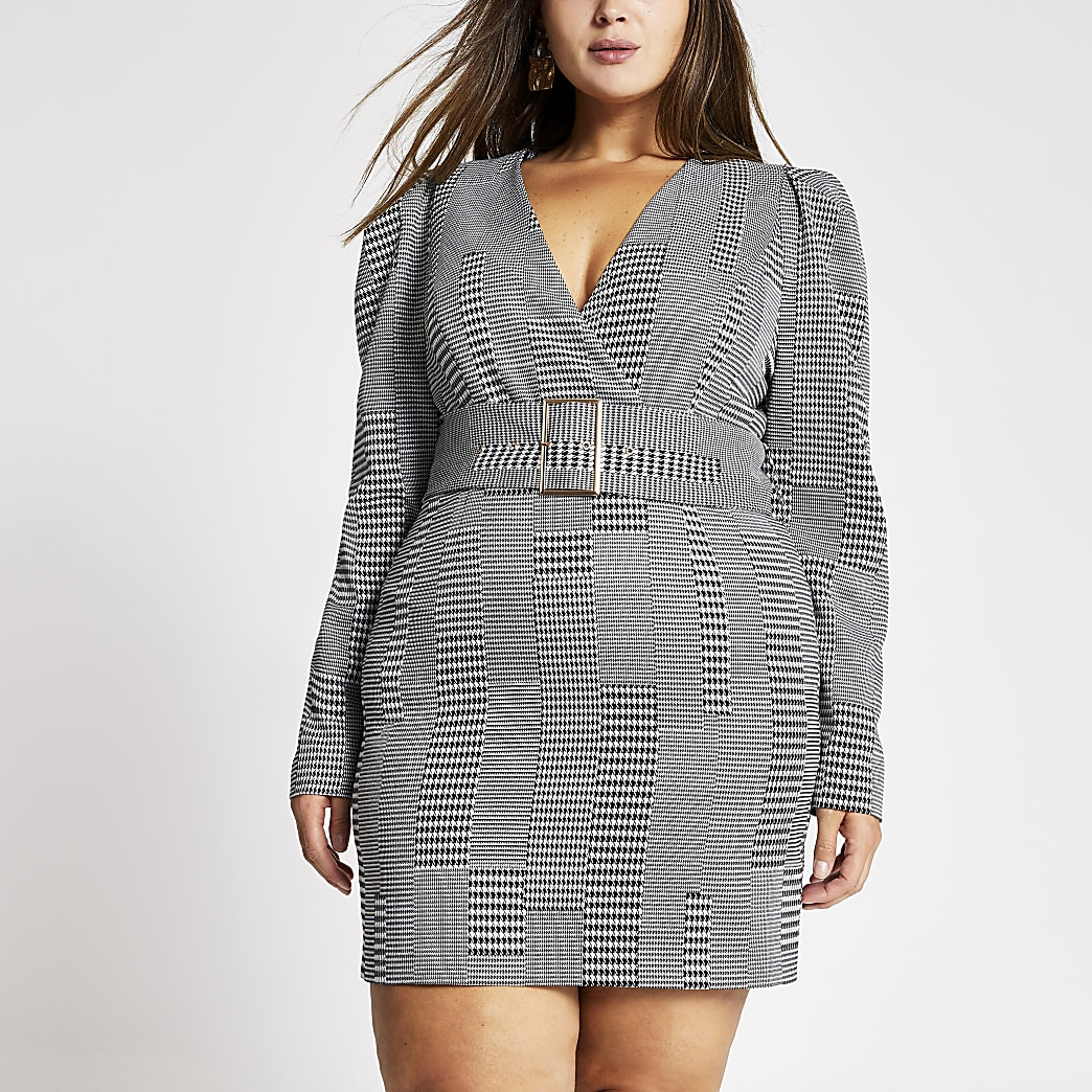 RI Plus - Zwarte geruite mini-jurk met ceintuur