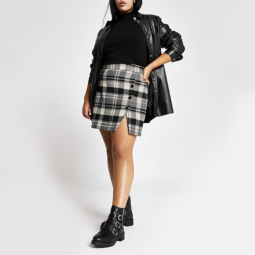 Plus black check button front mini skirt