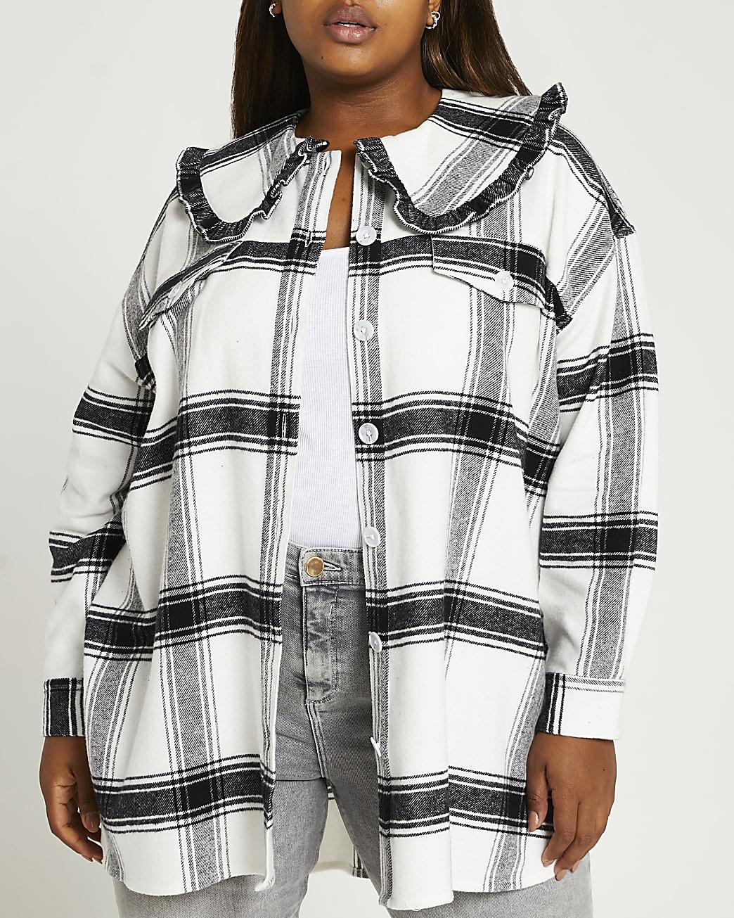 Plus black check oversized collar shirt