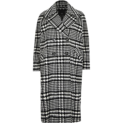 Plus Black check print longline coat