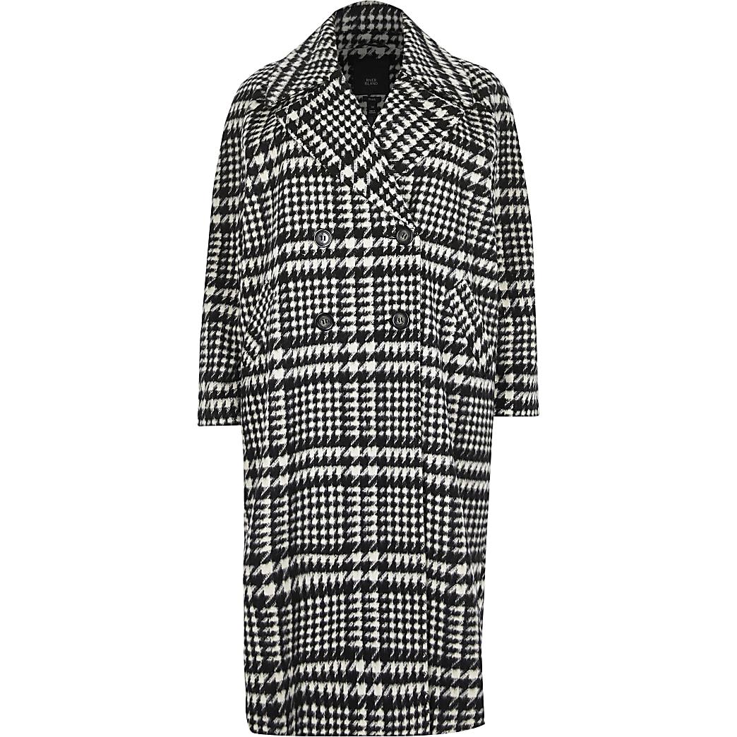 Plus Black check print longline coat