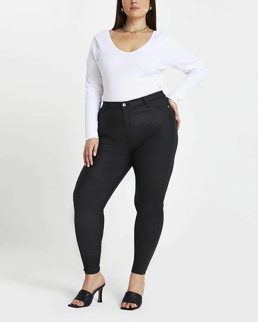 Plus black coated high waisted skinny jeans