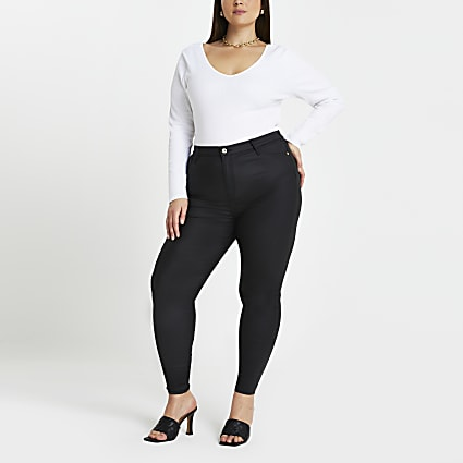 Plus Black coated high waisted skinny jeans