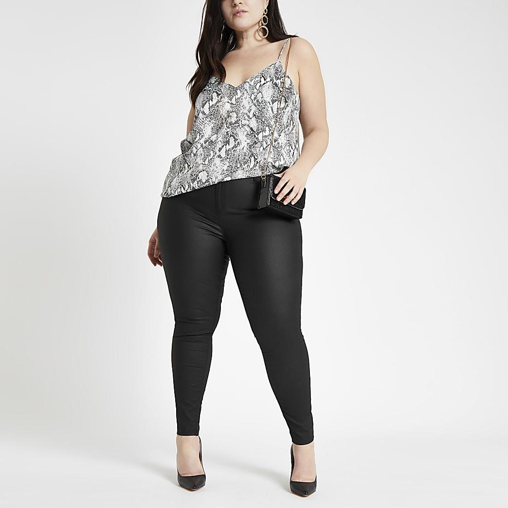 RI Plus - Zwarte Molly jeggings met coating en halfhoge taille