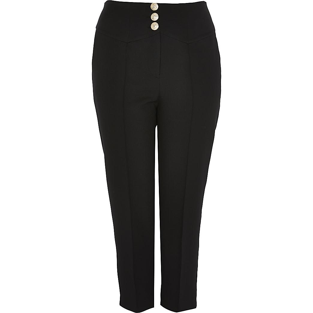 Plus black corset waist cigarette trousers