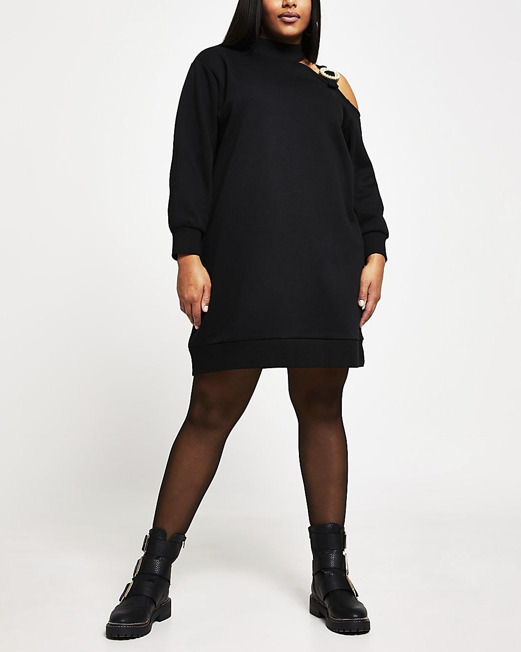 Plus black cut out buckle sweater dress