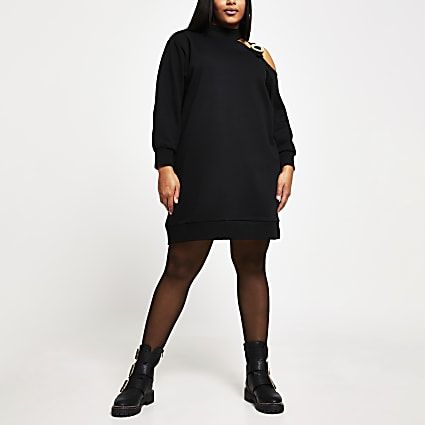 Plus black cut out buckle sweater dress