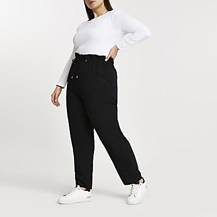 Plus black elastic waist joggers