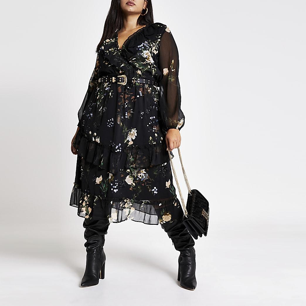 Plus black embellished midi smock dress