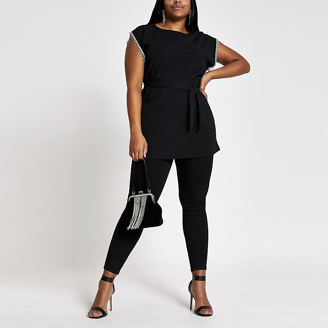 Plus –T-shirt oversize noir orné