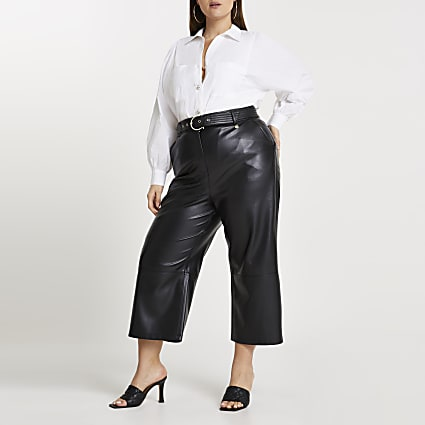 Plus black faux leather belted culottes