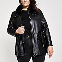Plus black faux leather belted jacket