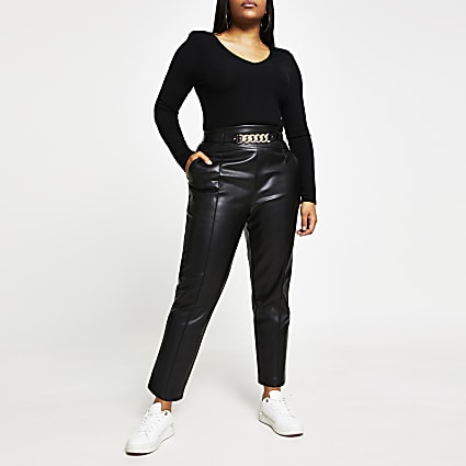 Plus black faux leather cigarette trousers