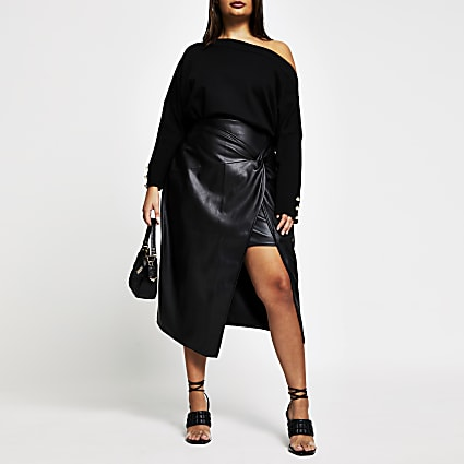 Plus black faux leather front wrap skirt