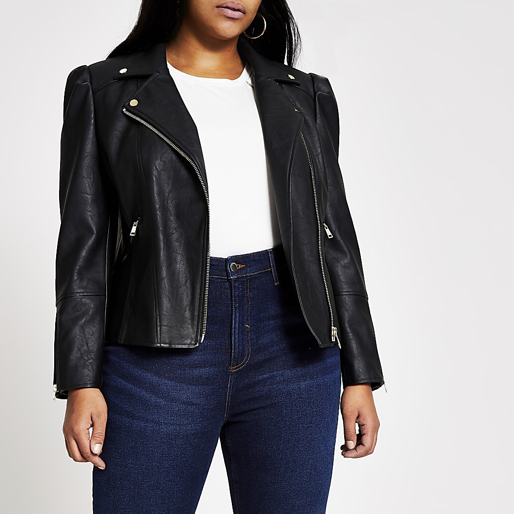 Plus black faux leather puff sleeve jacket